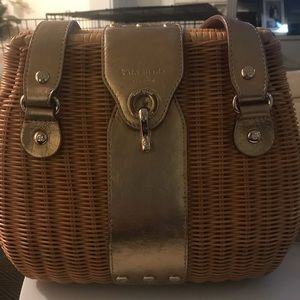 Kate Spade basketweave purse with gold straps